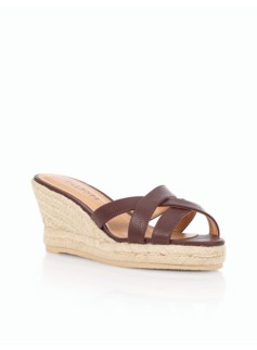 Lyndsay Pebbled Leather Espadrille Slides