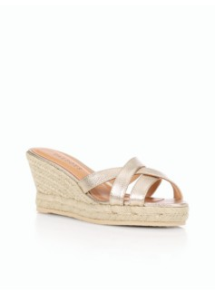 Lyndsay Metallic Leather Espadrille Slides