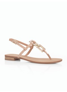 Loral Square-Link Patent Leather Thong Sandals