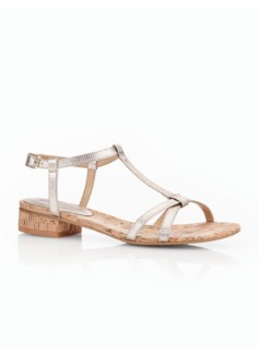 Tehya Metallic Leather Strappy Sandals