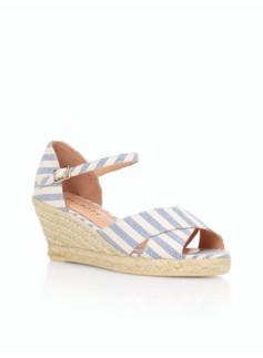 Lyndsay Striped Ankle-Strap Espadrilles