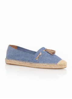 Ivy Blue Chambray Espadrille Tassel Flats