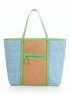 Colorblocked Straw Tote