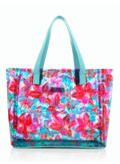 Tropical Flower Plastic Tote