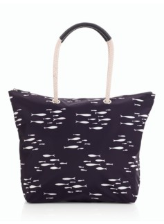 Fish-Print Nylon Packable Tote