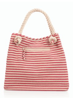 Striped Rope-Handle Canvas Tote