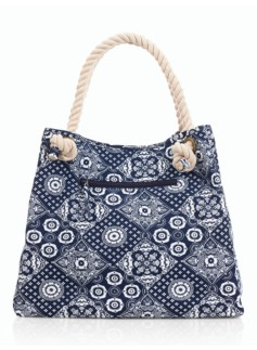 Diamond-Bandana Rope-Handle Canvas Tote