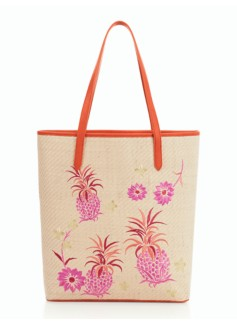 Pineapple & Flower Straw Tote