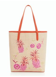 Pineapple & Flower Straw Tote