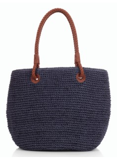 Braid-Handle Straw Tote