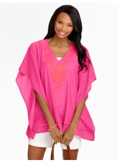 Flower-Embroidered Poncho