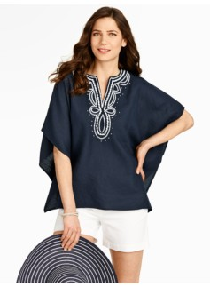 Embroidered Linen Poncho