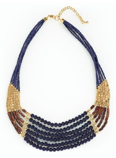Bead & Wood Bead Bib Necklace