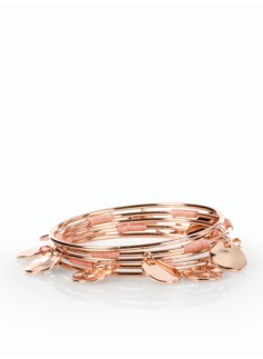 Hammered Disc & Wrapped Cord Bangles