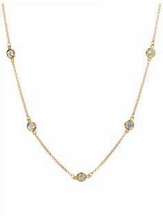 Gold-Plated Sterling Silver Station Necklace