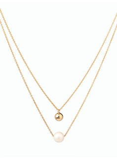 Freshwater Pearl Gold-Plated Sterling Silver Ball Necklace
