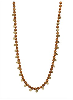 Wood Bead & Disc Necklace