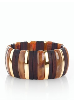 Wood & Brass Stretch Bracelet