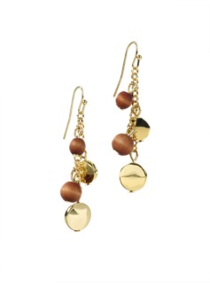 Mixed-Wood Bead Earrings