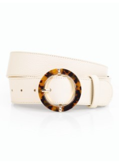 Pebbled Leather Tortoise-Shell Buckle Belt