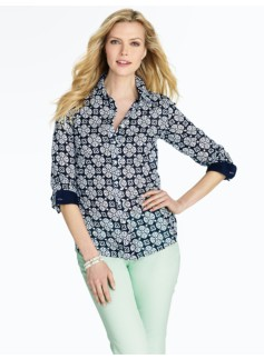 Petite Medallion Cotton Shirt