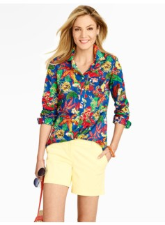 Bright Tropical Flowers Lightweight Cotton Shirt