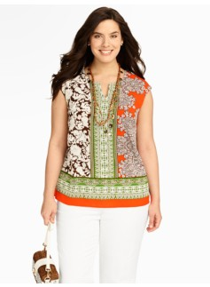 Paisley & Art-Deco Stripes Blouse