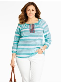 Bead-Embroidered Sail-Stripe Top