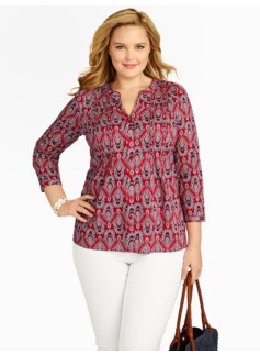 Medallion Paisley Pintucked Shirt
