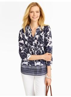 Peony & Border Stripes Pintucked Shirt