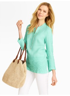 Zigzag-Embroidered Linen Tunic