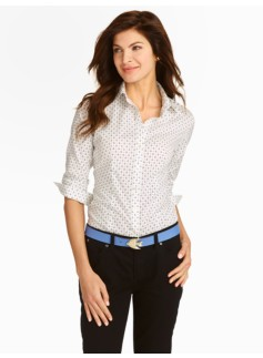 The Perfect Three-Quarter Sleeve Shirt: Anchors & Dots Print