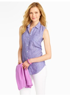 Regatta Stripes Sleeveless Linen Shirt
