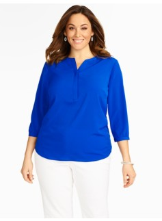 Murano Glass Cutaway Band-Collar Blouse