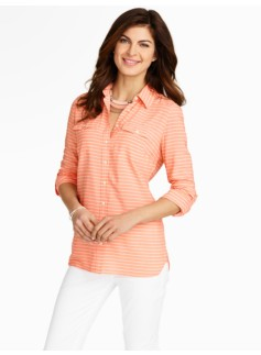 Tunic-Length Serene Stripes Shirt