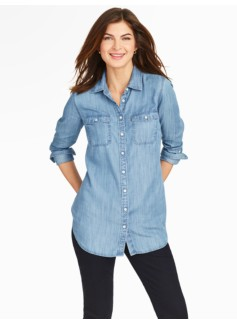 Tunic-Length Denim Shirt/Marina Wash