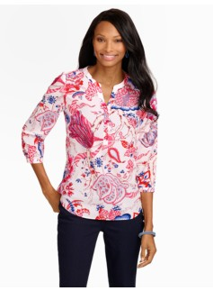 Trailing Vines Cutaway Band-Collar Blouse