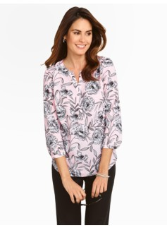 Sketched Flowers Cutaway Band-Collar Blouse