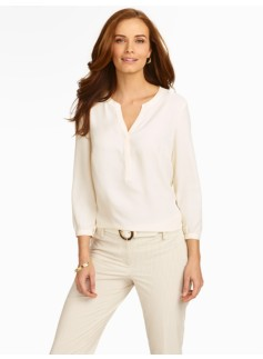 Cutaway Band-Collar Blouse