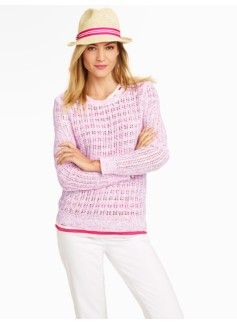 Space-Dyed Lattice-Stitch Sweater