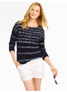 Reverse-Jersey Stripe Sweater
