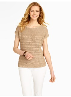 Front Tuck-Stitched Linen Dolman Sweater