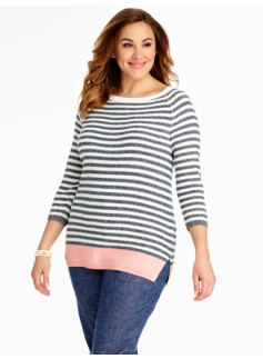 Stripe Blocked-Hem Sweater