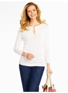 Linen-Viscose Split-Neck Top