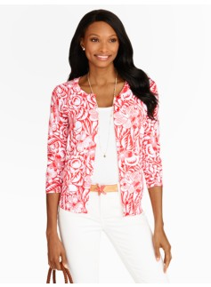 Hibiscus Flower Woodblock Charming Cardigan