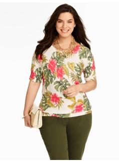 Hibiscus Palm Dolman Sweater