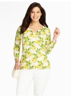 Lemon-Print Charming Cardigan