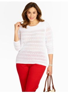 Shadow-Stripe Pointelle Sweater