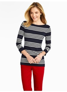 Varsity Stripe Pima Cotton Bateau-Neck Tee