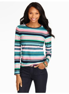 Pima Cotton Fair Isle Stripe Tee